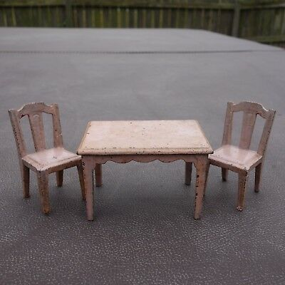 Vintage Cast Iron Sally Ann Miniature Dollhouse Furniture Table and Chairs