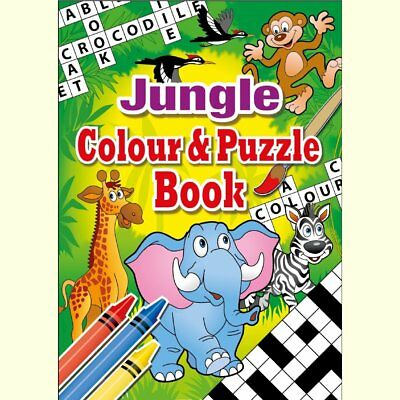 Set of 10 Jungle Themed A6 Puzzle and Colouring Books - Childrens Gift Christmas
