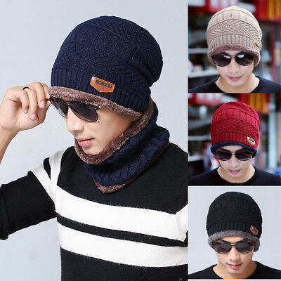 Fashion Men's Winter Beanie Hat Scarf Warm Knitted Skull Cap With Scarf Set Cosy