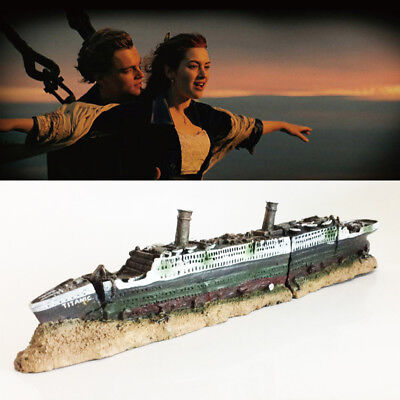 Titanic Model Ship Lost Wrecked Boat Aquarium Decoration Ornament