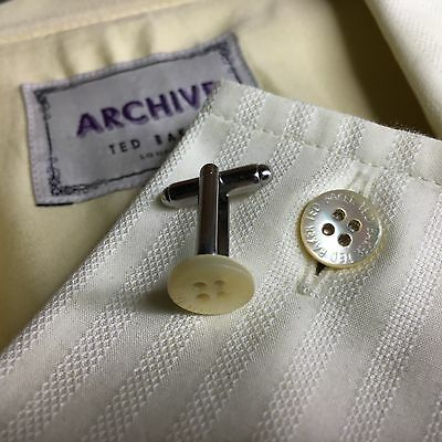 Mens TED BAKER Cufflinks Cream MOTHER OF PEARL SHIRT BUTTONS SILVER PLATED + BAG