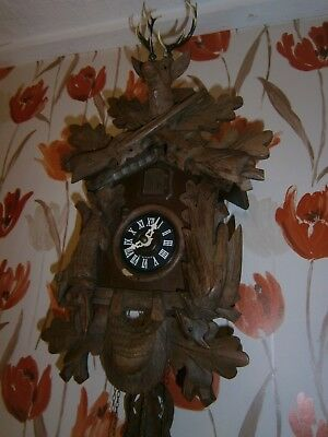 Vintage Large Wood  Cuckoo Clock ,made West Germany .