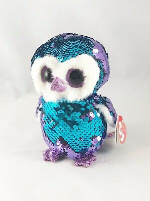 """ef524f96378 Ty FLIPPABLES Sequin MOONLIGHT 6"""" the OWL Beanie Boo NEW 2018 VHTF IN HAND!"""