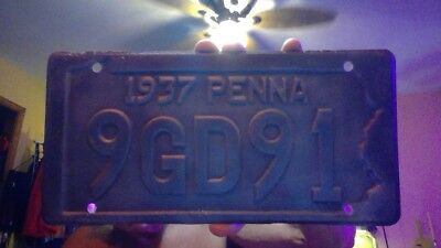 PA 1937  license plate # 9GD91