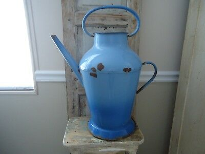 "Large Antique, French ""Enamel Water Pitcher"" Great Color"