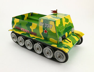 Alter Blech Panzer VU BY 3377 Russia USSR 60's Vintage Tin Toy Tank Armoured Car