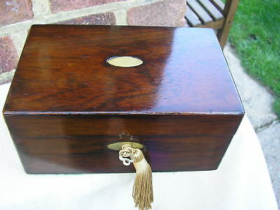 NICE c 1880 ROSEWOOD JEWELLERY BOX LIFT OUT TRINKET TRAY LOCKING BRASS INLAY.