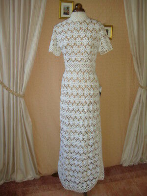 Vintage 1960's Fred Perlberg Cream Crochet Lace Evening Gown Dress