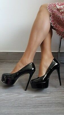 Made in Italy Shoes Decolletè Alte 14 cm con Plateau In Vernice Nere Lucide Lack