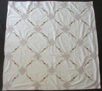 """VINTAGE HAND EMBROIDERED TABLECLOTH CROSS STITCHED FLOWERS 49.5""""x50"""""""