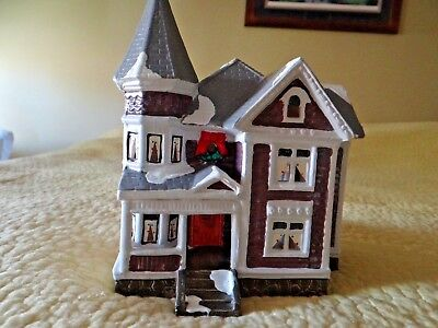 Dept 56 Snow Village Vintage Rare Purple House 1986