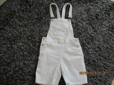 Girls  H & M  White  Short Dungarees 11/12 Yrs Really Pretty Brand New With Tag