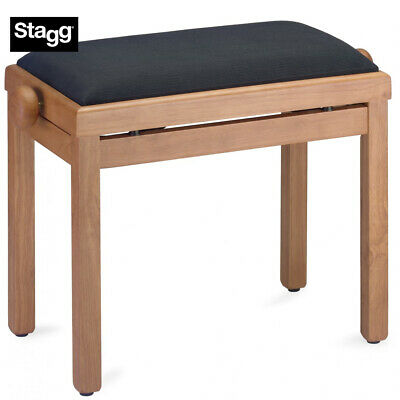 NEW Stagg PB39-MPM-VBK Maple Matte Adjustable Piano Bench with Black Velvet Top