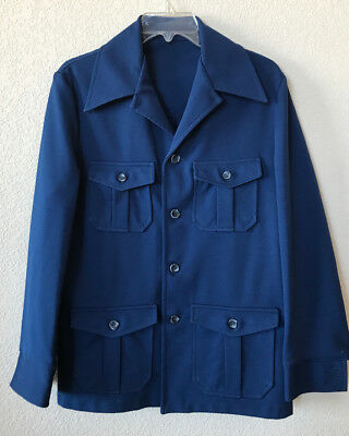 Vintage 70s Mens Leisure Disco Jacket Sports Coat Hippy Royal Blue Polyester 40