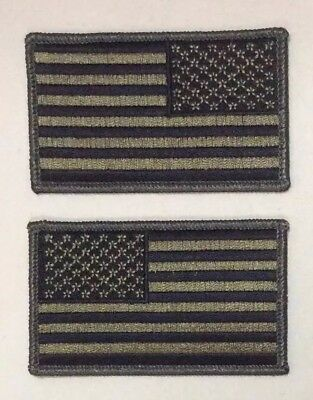 American Flag Patches Velcr O backing United States Olive Drab OD Green LOT two