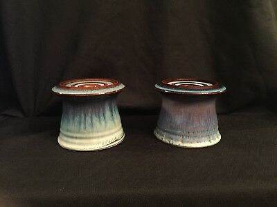 Rare Old vintage Ceramic Pottery Porcelain Pair Candle Holders