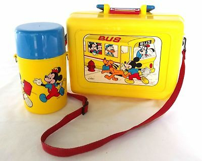 Disney Lunch Box Mickey Runs for the School Bus w/ Sip Spout Thermos & Lanyard