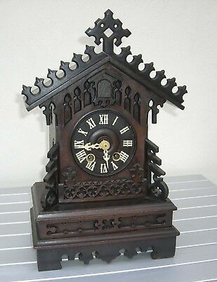 Antique Gothic Wooden Cuckoo Bracket Clock