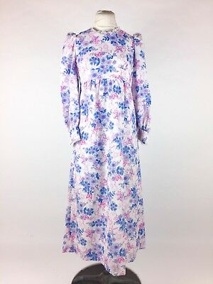 Vintage 1960s 1970s Pink Floral Dress Blue Maxi Peasant Polyester Hippy