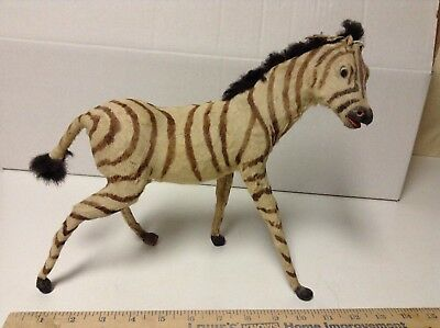 "Vintage Realist Zebra Statue Animal Figure 11"" Long x 10"" High Decor Collectible"