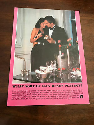 1981 VINTAGE 8X11 PRINT Ad WHAT SORT OF MAN READS PLAYBOY? CANDLELIGHT DINNER