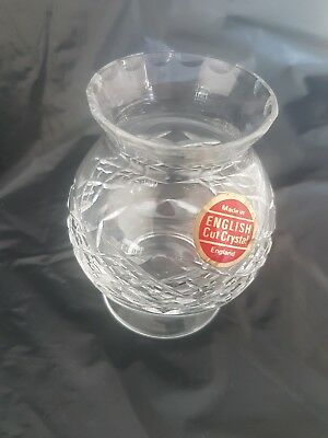 Vintage classic new British cut crystal glass small vase