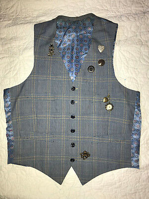 MENS  Victorian Edwardian Sherlock Holmes Dickens steampunk  VEST size S plaid