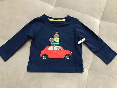 Mini Boden Boys Shirt Size 3-6 Month Blue With Puppy Car Presents Long Sleeve