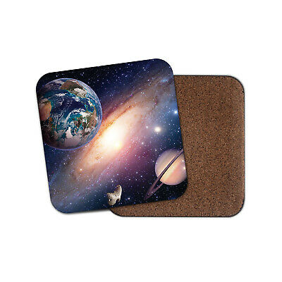 Solar System Coaster - Earth Saturn Planets Space Stars Nebula Cool Gift #14405