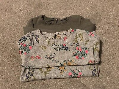 Next Girls Khaki And Floral Long Sleeve T-Shirts Age 12-18 Months.