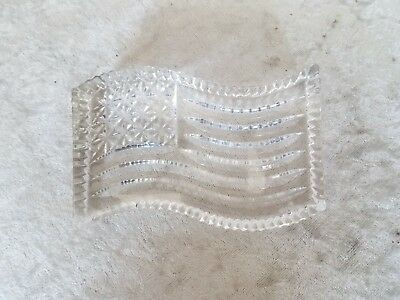"""Waterford Crystal American Flag Clear Paperweight USA 4.5"""" x 3"""" patriotic"""
