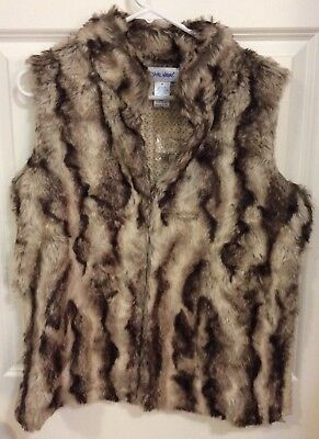 Vicki Wayne Faux Fur Vest Knit Back women's size M Medium EUC
