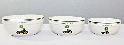 John Deere Dinnerware Set of 3 Mixing Bowls 10 in 9 in 8 in Gibson Collectibles