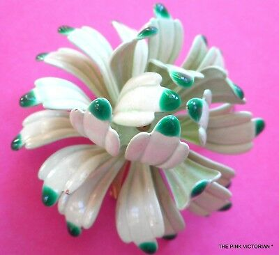 "Vintage Metal Enamel Flower Pin, Curvy Petals In Two Tone Green, 2"", Dimensional"