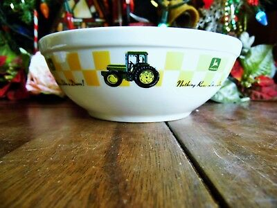 "1 John Deere Gibson 7"" X 2.5"" Nothing Runs Like A Deere Soup Cereal Pasta Bowls"
