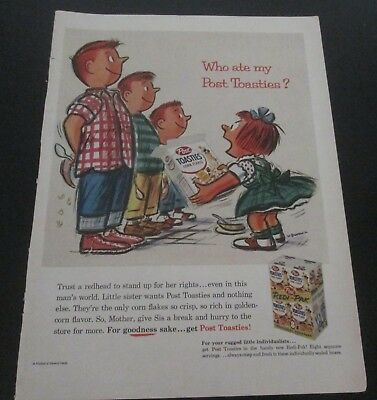 1956 original ad Post Toasties Cereal Girl Yelling at Brothers