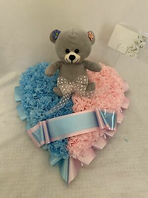 Artificial Silk Funeral Flower Heart Teddy Bear Tribute Memorial Wreath Baby