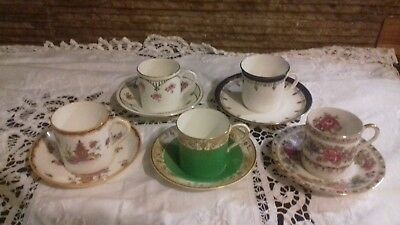 vintage English China coffee can cups and saucers collection of 5