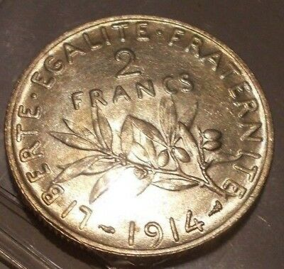 Silver 1914 2 Francs Certified As Choice Uncirculated.