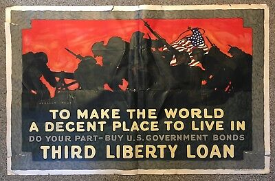 To Make The World A Decent Place WWI Liberty Loan Poster Herbert Paus AS IS