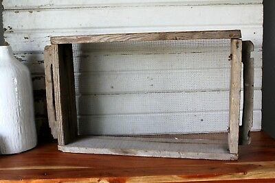 "Vintage Primitive Wood and Screen Box Old Farm House Decor 22"" x 12"" x 4"""