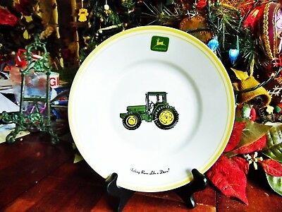 "1 USED JOHN DEERE GIBSON 8 3/4""R NOTHING RUNS LIKE A DEERE SALAD PLATE utensil"