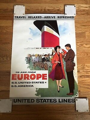 Rare 1950's S.S. United States Lines America Travel  Europe Poster Vintage