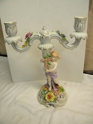 Von Schierholz Porcelain Cherub Floral Candle Holder Candelabra Holds 3 Candles