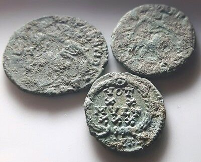 LOT OF 3 ANCIENT ROMAN BRONZE COINS Constantius II