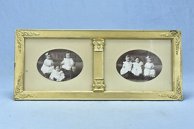 Antique VICTORIAN DIVIDED RECTANGLE PICTURE FRAME w EMBOSSED TIN CORNERS #04771