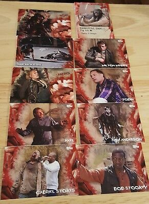 2016 Walking Dead Survival Box lot of 11 cards Survival Guide Insert