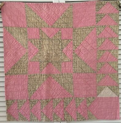 Antique 1800's Vintage Old Star Early Prints Pink Patchwork Quilt Piece #4