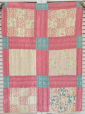 Vintage Antique Old Early Prints Pink Nine Patch Patchwork Quilt Cutter Piece #2