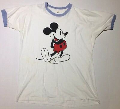 Authentic Vtg Disney Mickey Mouse Ringer 70s 80s T-Shirt Large USA
